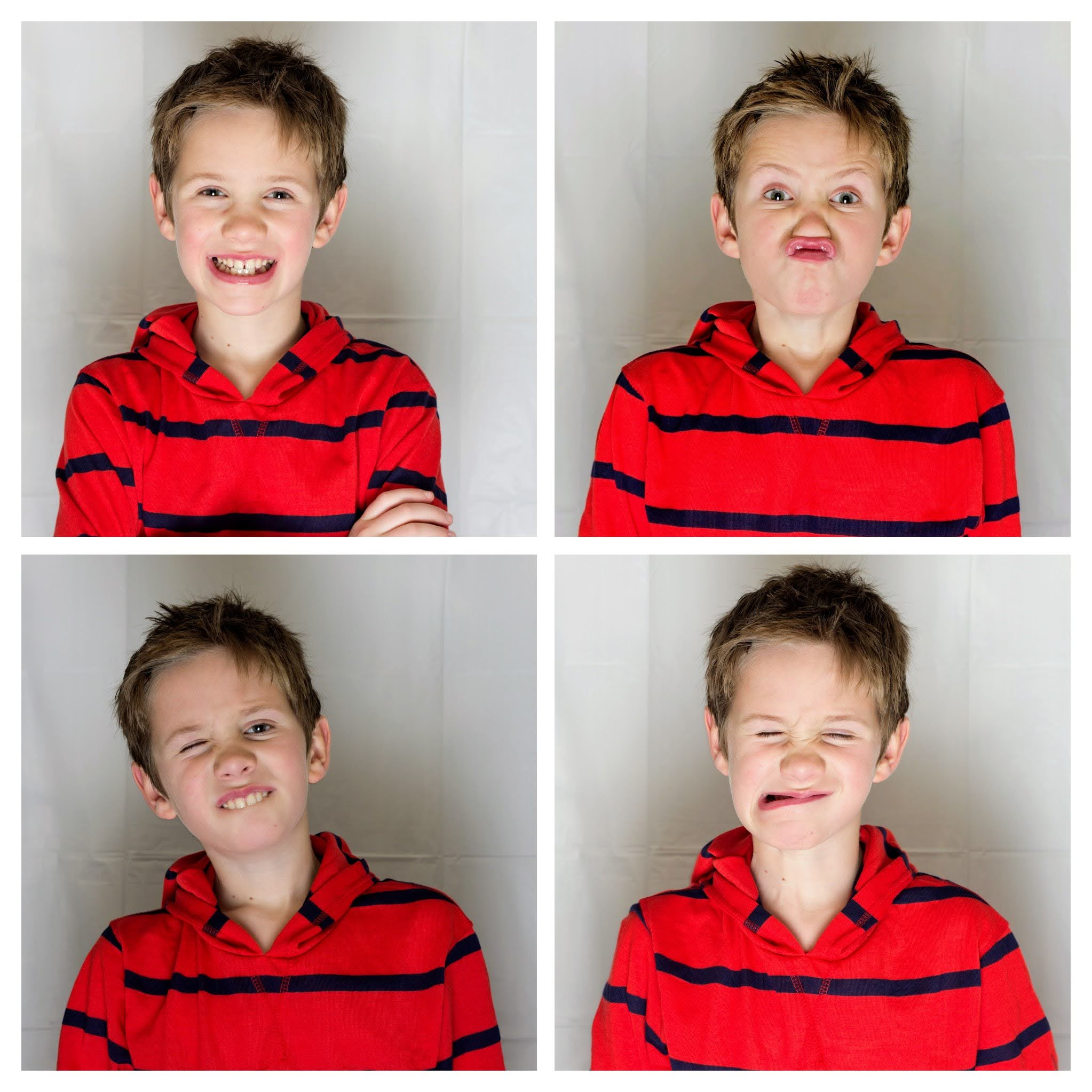 Child with four facial expressions